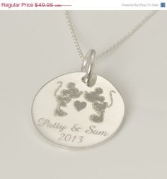 Engraved Kissing Mickey Mouse  Minnie Mouse Pendant