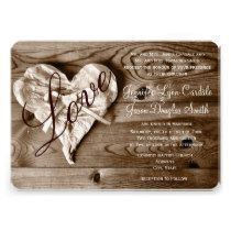 Rustic Country Barn Wood Love Heart Wedding Invite ... cute way to coordinate look of the invitation to a country wedding. There are also other designs featuring wooden signs or wood grain on the page.