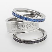 San Diego Chargers Stainless Steel Crystal Stack Ring Set