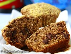 can't believe these yummy chocolate chip muffins are made with whole wheat pastry flour and are eggless.
