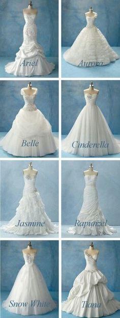 Disney princess wedding dresses!!!