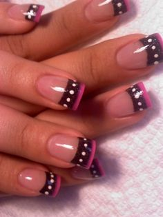 Pink and black gel nails