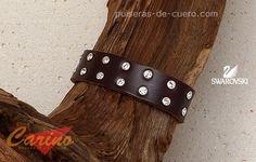 Pulsera de cuero: noble y siempre el blanco de las miradas, pulsera también en negro, cierre de imán, a medida en http://www.pulseras-de-cuero.com