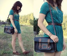 Lots of Dots (by Tonya S.) http://lookbook.nu/look/3815397-Lots-of-Dots polka dots, vintage, fashion styles, dresses, outfit, belt, dress shoes, bang, bags
