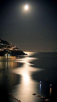 positano, la luna, amalfi coast, beauti, place, italy, moonlight, evenings, itali