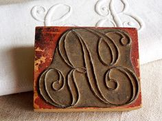 vintage French embroidery stamp monogram initial R. Available at AtticAntics, $19.50