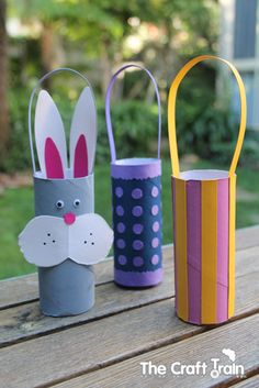 Easter craft, toilet roll Easter basket #Easter #kids #craft #bunny #basket