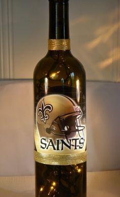 New Orleans Saints Wine Bottle Lamp