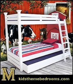 uniquely designed bunk bed is inspired in design by the famous American Barn. The headboards include two sets of cabinets. (See detailed images.) The colors that are used for this bed are red/white and the roof is cedar wood painted in clear finish. Custom colors are available. Trundle is included as part of the design and can be used as a storage drawer, or a trundle. Kid Bedrooms, Farm Bedroom Kids, Red Wall, Bunk Beds, Bedroom Decorating Ideas, Farm Style, Farm Theme, John Deere Bedroom Ideas, Kid Room