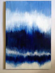 blue abstract painting, large original art on canvas, indigo, white, ikat, ombre, 24X36
