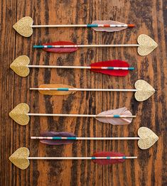 DIY Love Struck Arrows arrows, craft, valentine day, valentines day decorations, struck arrow, paint brushes, diy projects, valentine party, parti