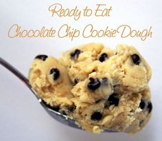 Single Serving Ready to Eat Cookie Dough Recipe: 1 tbsp Milk, 3 tbsp Flour, 2 tbsp Sugar (white or brown), 1 1/2 tbsp Butter, splash of vanilla extract & as many Chocolate Chips as you want!Just imagine the possibilities ...