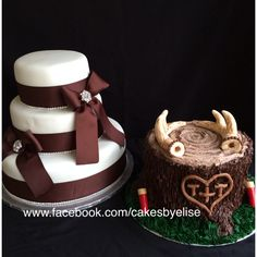 Wedding cake and grooms cake. Hunting themed grooms cake. www.facebook.com/cakesbyelise