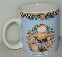 Debbie Mumm Woodland Santa Mug 1998 Sakura Firewood Christmas Blue Coffee Cup  ~ This Item is for sale at LB General Store http://stores.ebay.com/LB-General-Store ~Free Domestic Shipping ~