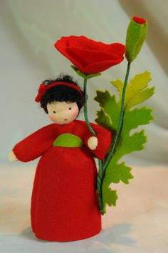 Red Poppy  Flower Child  Waldorf  Inspired  by KatjasFlowerfairys, €34.00