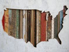 reclaimed wooden map.