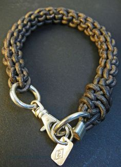 Woven Leather Bracelet in Grey with Silver Clasp. Men's Spring Summer Fashion.