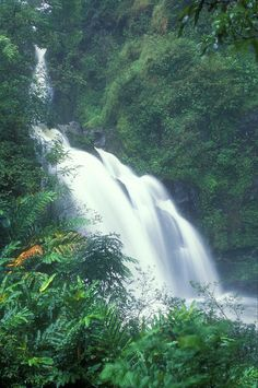 Wiakini Three Bears Falls Hana Maui Hawaii. #waterfall