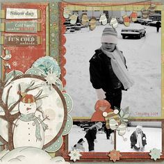 Sweet Snowy Day Page...with snowman & mittens embellishments.