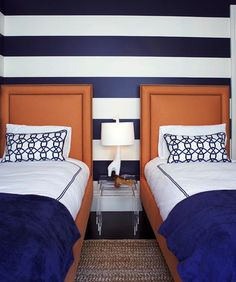 More boys room inspiration...the stripes, the headboards, the lucite nesting tables - love it! goo.gl/33uo5