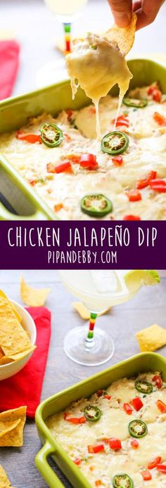Chicken Jalapeño Dip - Spice, meat and gooey cheese in a dish! With chips!!
