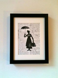 Mary Poppins. This linocut print would look fantastic on your wall or would make a super gift. // for a wall
