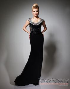 Tony Bowls Evenings Black Cap Sleeves Pageant Gown style TBE21391