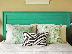cynthia-winward turquoise headboard....this makes me want to paint a whole bedroom set this color!
