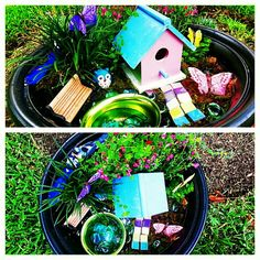 "Pinner says, ""Fairy Garden items purchased from Home Depot, Hobby Lobby, and Dollar Tree."""