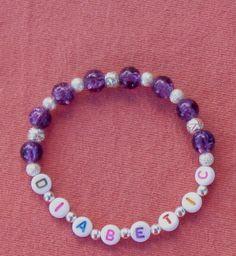 Diabetic Medical Alert Bracelet Purple Glass Handcrafted Stretch Jewelry $8.00   http://www.bonanza.com/listings/Diabetic-Medical-Alert-Bracelet-Purple-Glass-Handcrafted-Stretch-Jewelry-M12/90179207