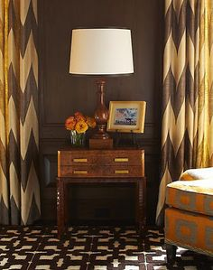 Love those drapery panels!!!!!!!! wall colors, chevron patterns, curtains, warm colors, chocolates, color combos, chocolate brown, carpets, window treatments