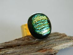 Cocktail Ring in Green and Gold Fused Dichroic by uniquenique, $25.00 #onfireteam #lacwe #fest #tbec #ring #jewelry #fused glass