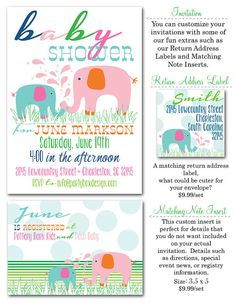 Elephant Baby Girl Shower Invites 20 printed  by PARTYBOXDESIGN, $34.99