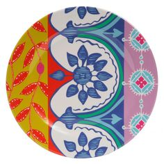 Vibrant colors and happy patterns lend melamine plates a playful feel. | $44