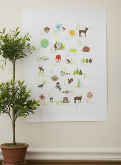 Nature themed alphabet poster