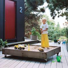 sands, red doors, mobil, sand boxes, sandboxes, wheels, backyard, garden, kid