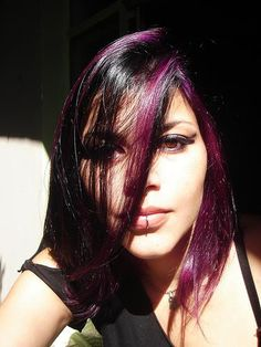 Brown Hair With Black And Red Highlights | ... overly fond of blonde, though. Mine is black with purple highlights