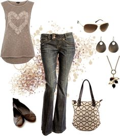 """""""Heart Print Tank Top"""" by mmessenger on Polyvore"""