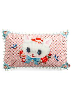 Wu & Wu pillow with art by Fiona Hewitt and pom-pom trim - $40