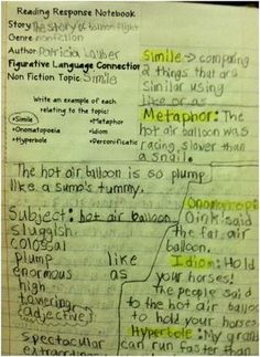 Figurative Language practice in Reader's Notebooks!