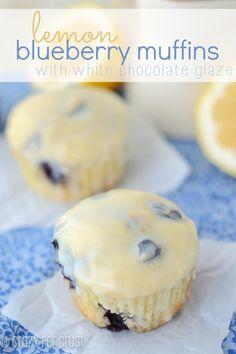 lemon blueberry muffins with white chocolate glaze