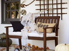 Set out a plastic skeleton to greet guests on your front porch!