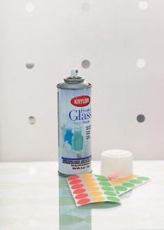 Dot stickers + glass spray paint