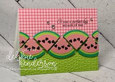 Debbie's Designs: Summertime Watermelon Slices with Dies using Stampin' Up! A Big Thank You, Butterfly Wishes and Hammered Metal Embossing Folder. Punch Art Watermelon. Debbie Henderson #punchart #watermelon #hammeredmetal #butterflywishes #debbiehenderson #debbiesdesigns #stampinup