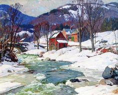 ALDRO HIBBARD Vermont Winter Landscape Oil on Canvas