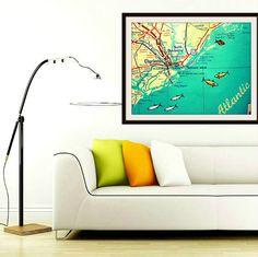 #CHARLESTON South Carolina map art print