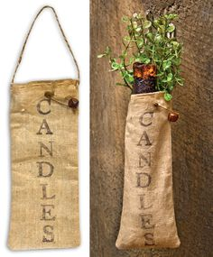 Our new Candles Primitive Bag makes it easy to hang a battery operated candlestick on a wall, hook or tree branch.