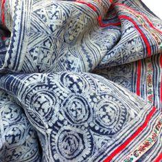 Hmong indigo batik textil, indigo batik, print, hemp fabric