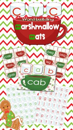 Help your students warm up this winter with a cupful of cocoa and some CVC Word Family Marshmallows. $ #kindergarten #lifeovercs #learningtoread