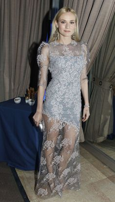 Diane Kruger in a grey lace dress at the Sidaction Gala Dinner